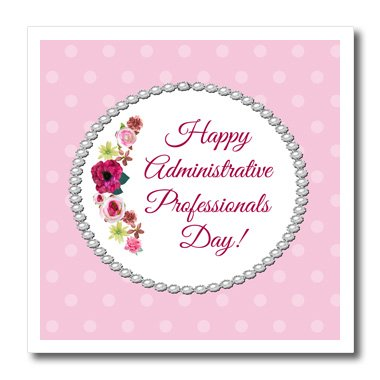 Beverly Turner Administrative Professionals Day - Roses, Pink, Red, Pearl Look Frame, Dots, Administrative Assistant - 10x10 Iron on Heat Transfer for White Material (ht_244094_3) (Sewing Table Assistant compare prices)