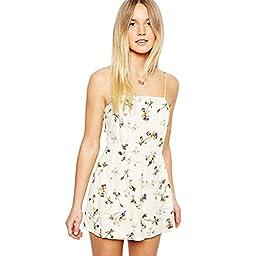 Girls Floral Chiffon Halter Straps Piece Shorts Jumpsuit (XS)