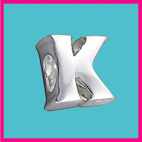 Silver Bead Letter K Genuine Solid Pure 925 Stamped Sterling Silver Bead Charm Letter Initial Alphabet for European Bracelet and Chains - 3D Slide on/off - QUEEN OF SILVER