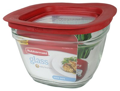 Rubbermaid 2856005 5.5C Square Glass Container by Rubbermaid