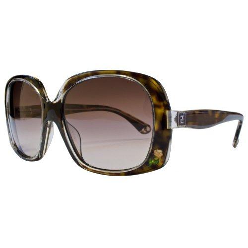 Fendi Square Flower Engraved Sunglasses Tortoiseshell