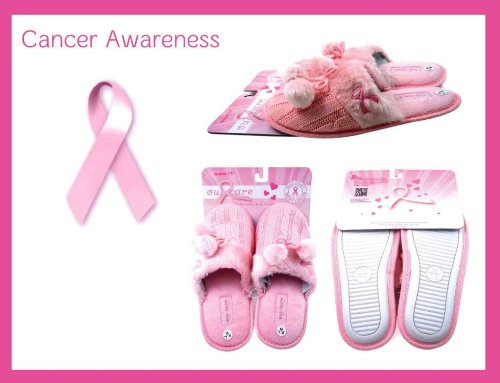Soft Pink Slippers Slip On Breast Cancer Awareness With Ribbon
