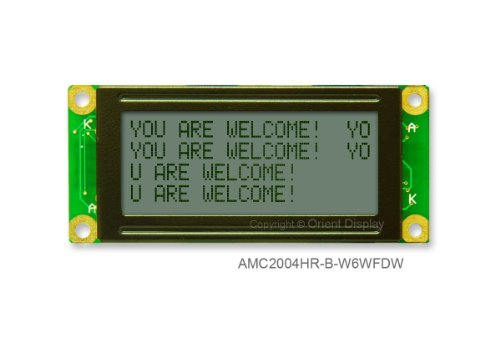 20 X 4 Character Lcd Module Black And White With White Backlight Amc2004Hr-B-W6Wfdw