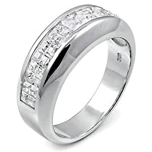 Amazon.com: Men's Sterling Silver Half Eternity Cubic ...