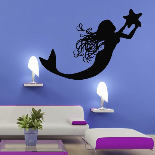Wall Decal Vinyl Sticker Decals Art Decor Mermaid Deep Sea Animal Water Nymph Nature Fish Nursery Kids Children Bedroom Star Tail Cartoon Girl (M287) front-486763