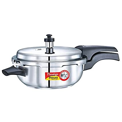 Prestige Deluxe Alpha Senior Pan Stainless Steel Pressure Cooker (Induction Bottom, Outer Lid))