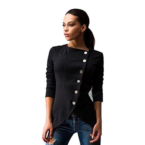 Le donne del cappotto del rivestimento, FEITONG Pulsante Slim Fashion Casual giacca sportiva del vestito della signora del cappotto del rivestimento (Nero, S)