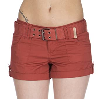 (CL8385) Dollhouse Juniors Belted Sienna Short Shorts in Ketchup Size: 1