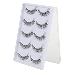 Imported 5 Pairs Cotton Stalk Natural Long False Eyelashes Eye Lashes Makeup - A01