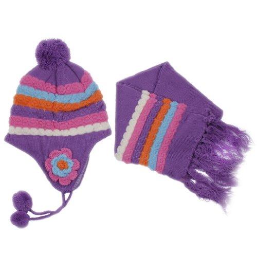 Eozy 全5色 ボタンデザイン ケーブル編みボンボンニット帽 耳あてニット帽 マフラー付き 6ヶ月ー5歳子供、キッズ、ベビーに パープル