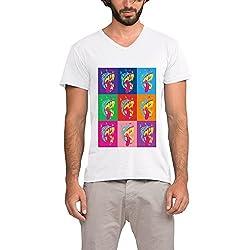 MTOO Men's Colorful Roar V Neck T Shirts
