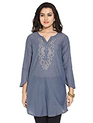 Biba Women's Cotton Straight Kurta (Denim Edition # 9423_Grey_38)