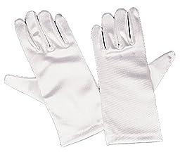 Girls White Satin Gloves Large (8-12)