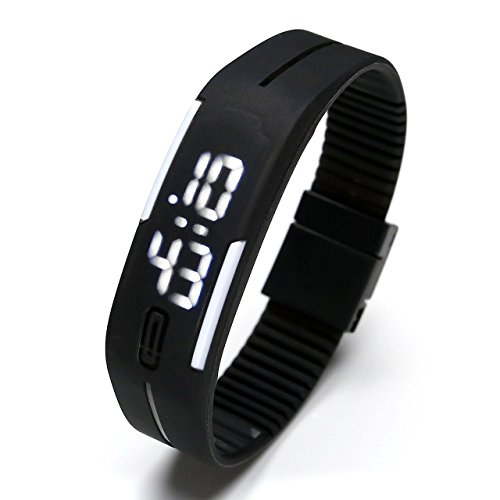 Top Plaza Simple Gel Rubber Bracelet Touch Screen White LED Digital Display Unisex Sports Watch - Black (Top Digital Watches compare prices)
