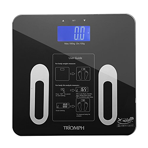 Triomph Digital BMI Scale with Step-On Technology, 10 User Recognition, 400 lbs Capacity, Black