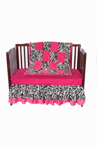 Baby Doll Zebra Minky Crib Bedding Set with Crib Skirt/Dust Ruffle (Crib Bumper Zebra compare prices)