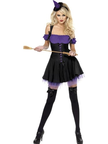Smiffys Women's Fever Wicked Witch Costume, Purple -US Dress 10-12