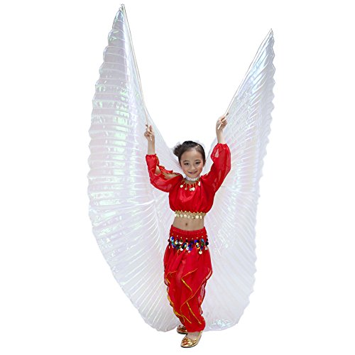 Cute Children White Colorful Yarn Belly Dance Isis wings Halloween costume