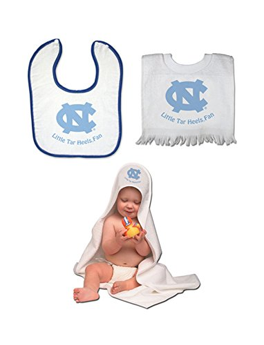 Nc Tarheels Team Toddler Set - Hooded Towel Pullover Bib And Snap Bib With Color Trim front-456479