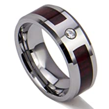 buy King Will Unisex 8Mm Wooden Inlay Cubic Zirconi Polished Tungsten Ring Wedding Band Comfort Fit (10)