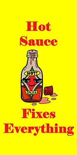 """""""Hot Sauce Fixes Everything"""" Food Humor Cartoon - Plywood Wood Print Poster Wall Art front-1062703"""
