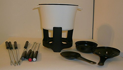 Crate & Barrel White Enamel Cast Iron Fondue Set