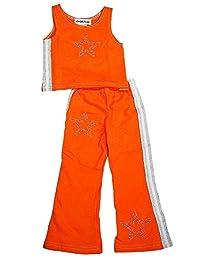 NY Girls\'.com - Little Girls\' 2-Piece Pant Set, Orange, White 6274-4