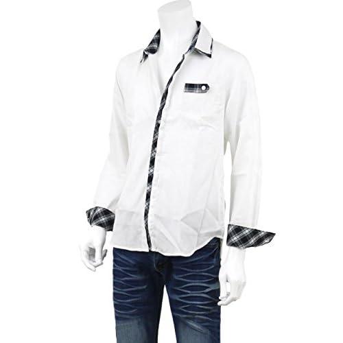 シャツ メンズ 長袖 ドレスシャツ 比翼 アーガイル チェック 二枚襟 切替デザイン トラッド A270219-05 ホワイト L