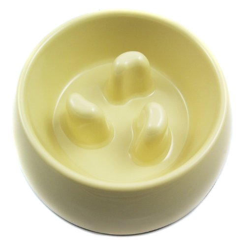 Slow-Eating Anti-Gulping Food Bowl (for Dogs & Cats) - Light Yellow, Large