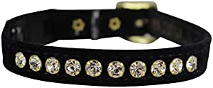 "OmniPet Velvet Rhinestone BreakawayCat Collar, Black, 12"""