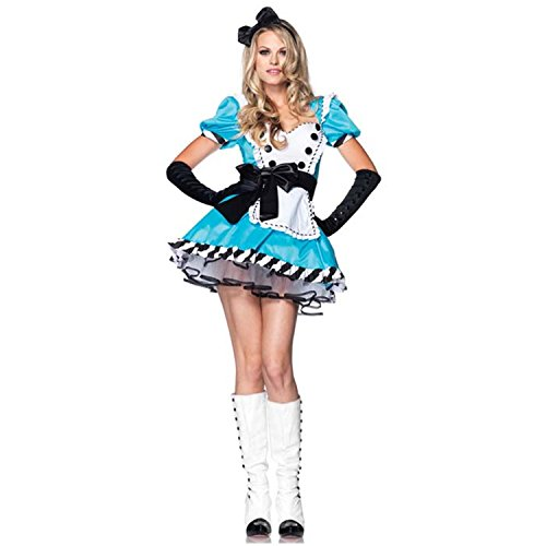 Sexy4Lady Women's Forever Young Charming Alice In Wonderland Fancy Dress Costume