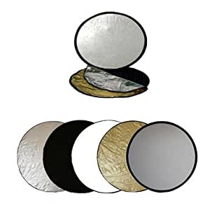 Ex-Pro 23 inch 58cm 5-in-1 Photographic Light Reflector - Silver/Gold/Black/White/Translucent