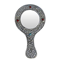 Handicrafts Paradise Hand Mirror Round shape in Metal