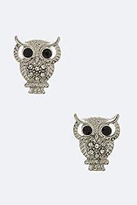 Karmas Canvas Crystal Owl Stud Earrings (Silver)