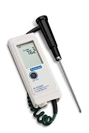 Hanna Instruments HI 935007N Waterproof Thermocouple Thermometer, with Direct K-Type Probe, -50.0 to 199.9 degrees C; 200 to 1350 degrees C or 58.0 to 399.9 degrees F; 400 to 2462 degrees F, + or - 2% F.S.