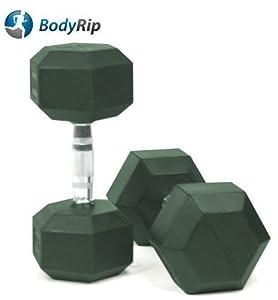 Bodyrip 30kg hexagonal hex rubber encased ergo dumbbell weight buy 1 get 1 free
