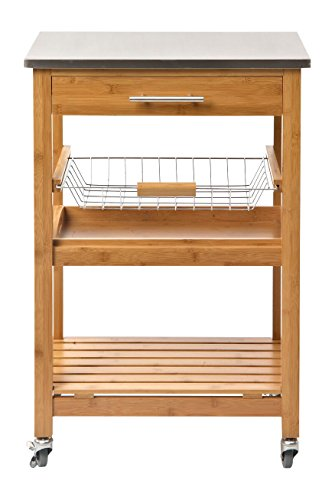 Boraam 50651 Aya Bamboo Kitchen Cart with Stainless Steel Top (Bamboo Kitchen Carts And Islands compare prices)