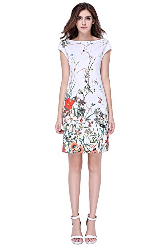 Glorria Women's Summer Wear to Work Slim Fit Print Knee-Length Dresses M