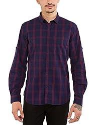 Highlander Men's Casual Shirt (13110001477943_HLSH008981_Small_Navy Blue)