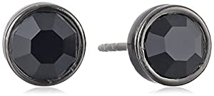 1928 Jewelry Black Faceted Stud Earrings