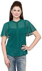 Rvestir Women's Poly Georgette Tunic Top (OM094_S, Green)