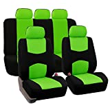 FH-FB050115 Flat Cloth Car Seat Covers Green / Black Color