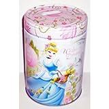 Disney Princess Cinderella Wishes & Dreams Round Tin Bank with Easy-Off Lid