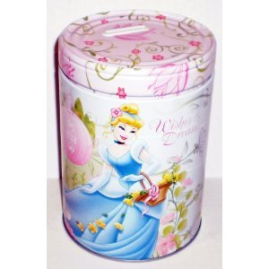 "Disney Princess Cinderella ""Wishes & Dreams"" Round Tin Bank with Easy-Off Lid - 1"