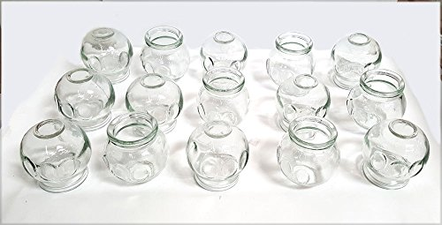 """Glass Fire Cupping Jars with FINGER GRIPS - #4 (Outer Dia. 2.5""""), Set of 15 Cups"""