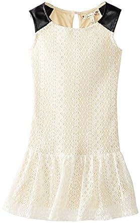 Speechless Big Girls' Drop Waist Dress with Lace, Ivory, 7