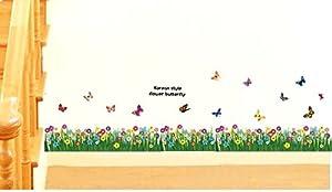 Mustbe Butterfly Grass Flower Wall Sticker Decor Decals Art Sitting Room from Mustbe