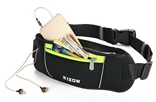 Rixow Sport Hüfttasche Bauchtasche Gürteltasche Nachtsichtbarkeit für Reisen ,Laufen, Wandern , Radfahren, Sport, Yoga & More! Kopfhöreranschluss für iPhone 6 Plus / iPod