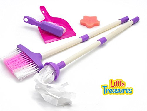 Mommy's little helper toy quality cleaning play set from Little Treasures - Complete with broom, mop, foam-pad, hand-broom and dust pan -play set for children 3+ great gift for small hand cleaners (Toddler Play Broom Set compare prices)