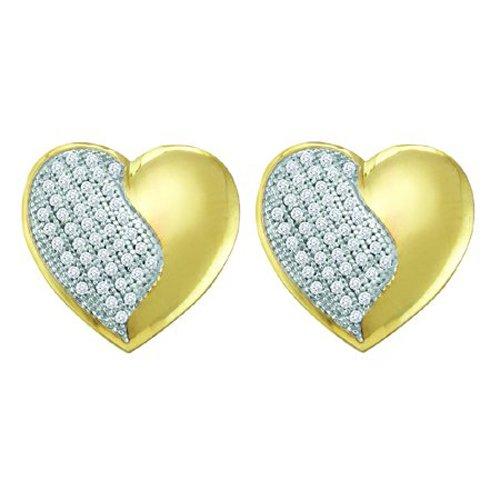10K Yellow Gold 1/4 ct. Micro Pave Set Diamond Heart Earrings